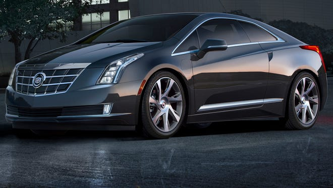 The 2014 Cadillac ELR luxury coupe cuts a dramatic, forward-leaning profile
