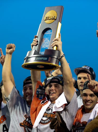 Oregon State celebrates after beating Arkansas to win the College World Series.