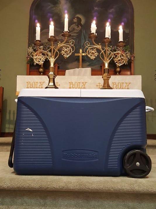 Beer cooler altar