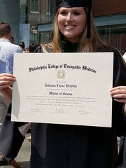 A photo Johanna Detwiler when she graduated from her physician assistant program this summer. She attended the Philadelphia College of Osteopathic Medicine.