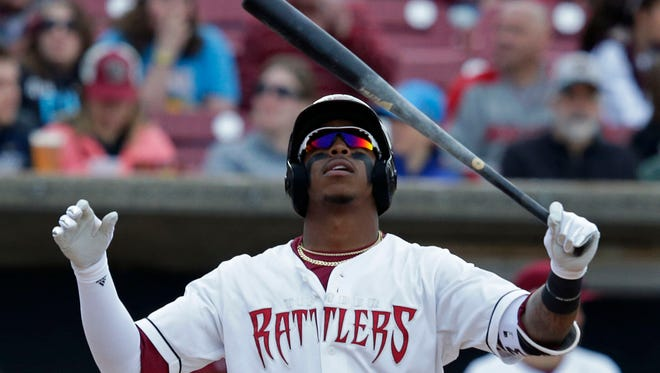 Monte Harrison of the Wisconsin Timber Rattlers bats during the home opener against the Quad Cities River Bandits Saturday, April 8, 2017, at Neuroscience Group Field at Fox Cities Stadium in Grand Chute, Wis.