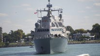 The new USS Detroit, a $440M highly adaptable combat vessel, drops anchor in name city