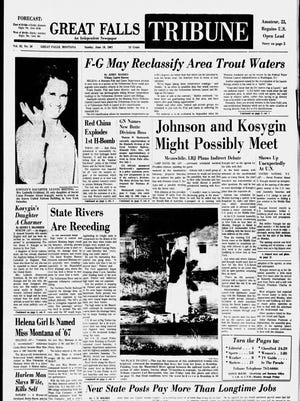 Front page of the Great Falls Tribune from Sunday, June 18, 1967.