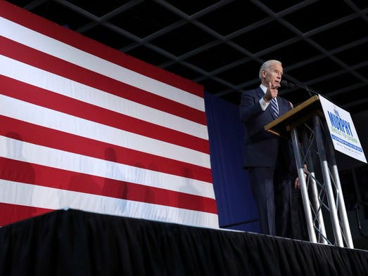 Biden addresses a gathering at campaign event for New