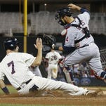 The Minnesota Twins celebrate a walk-off win of the game on against the Cleveland Indians in the early morning hours of July 17, 2016, at Target Field in Minneapolis.