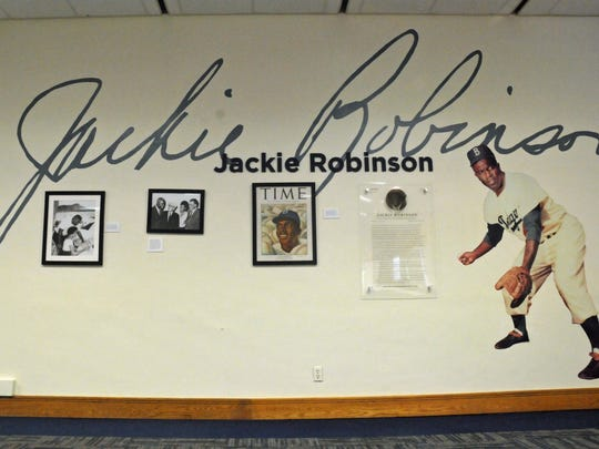 A wall inside the Jackie Robinson Room showcases some