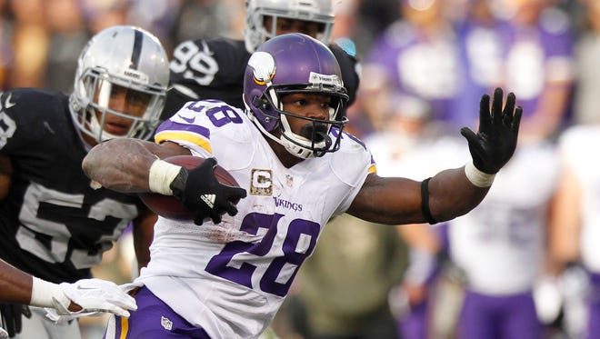 Vikings RB Adrian Peterson is in pursuit of his third NFL rushing title.