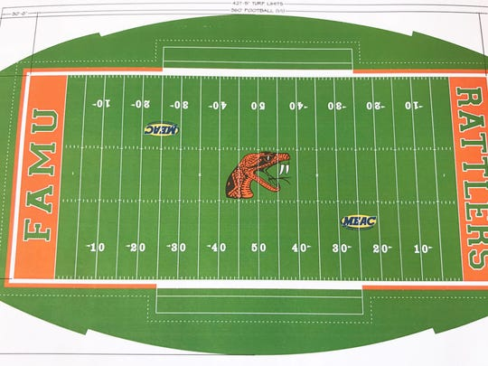 This is a computer drawing of how the field turf will