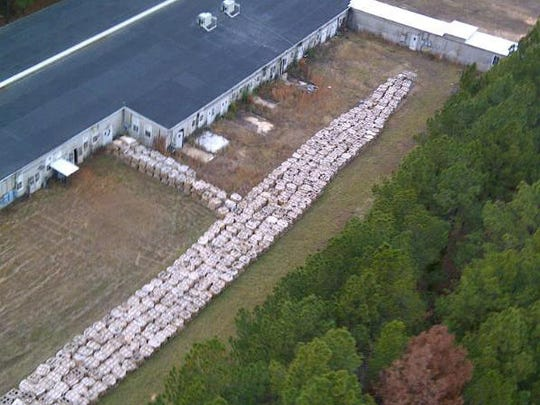 This aerial photo shows some of the 16 million pounds of M6 at Camp Minden.