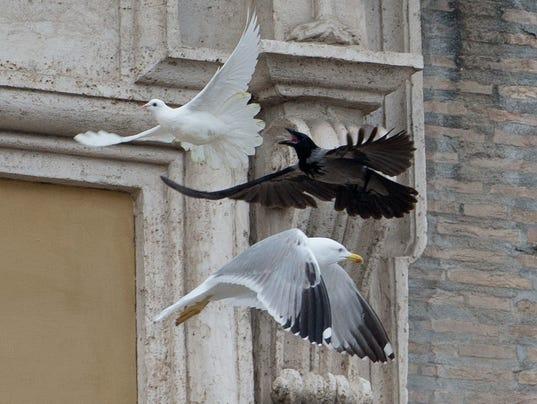 APTOPIX Vatican Pope Doves