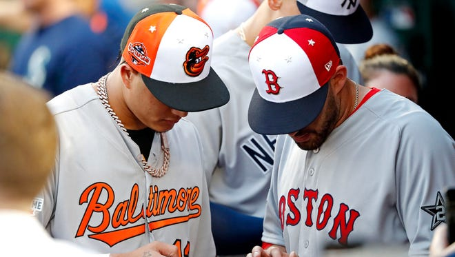 Jul 17, 2018: American League infielder Manny Machado of the Baltimore Orioles (13) and American League designated hitter J.D. Martinez of the Boston Red Sox (28) before the game the 2018 MLB All Star Game at Nationals Ballpark.