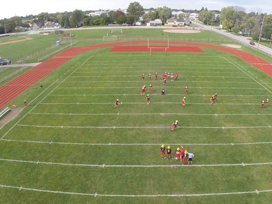 The view from the sky at Port Huron High School football practice.