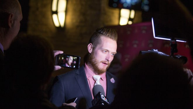 Diamondbacks pitcher Shelby Miller answers questions from media during the team's Most Valuable Partner night at Wild Horse Pass Hotel & Casino in Chandler on Thursday, January 14, 2016.