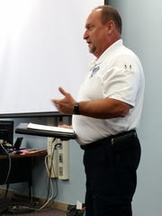 Jeff Roemer, Emergency Services Department interim director, speaks Aug. 15 to the joint meeting of the Door County Board Administrative and Finance Committees.