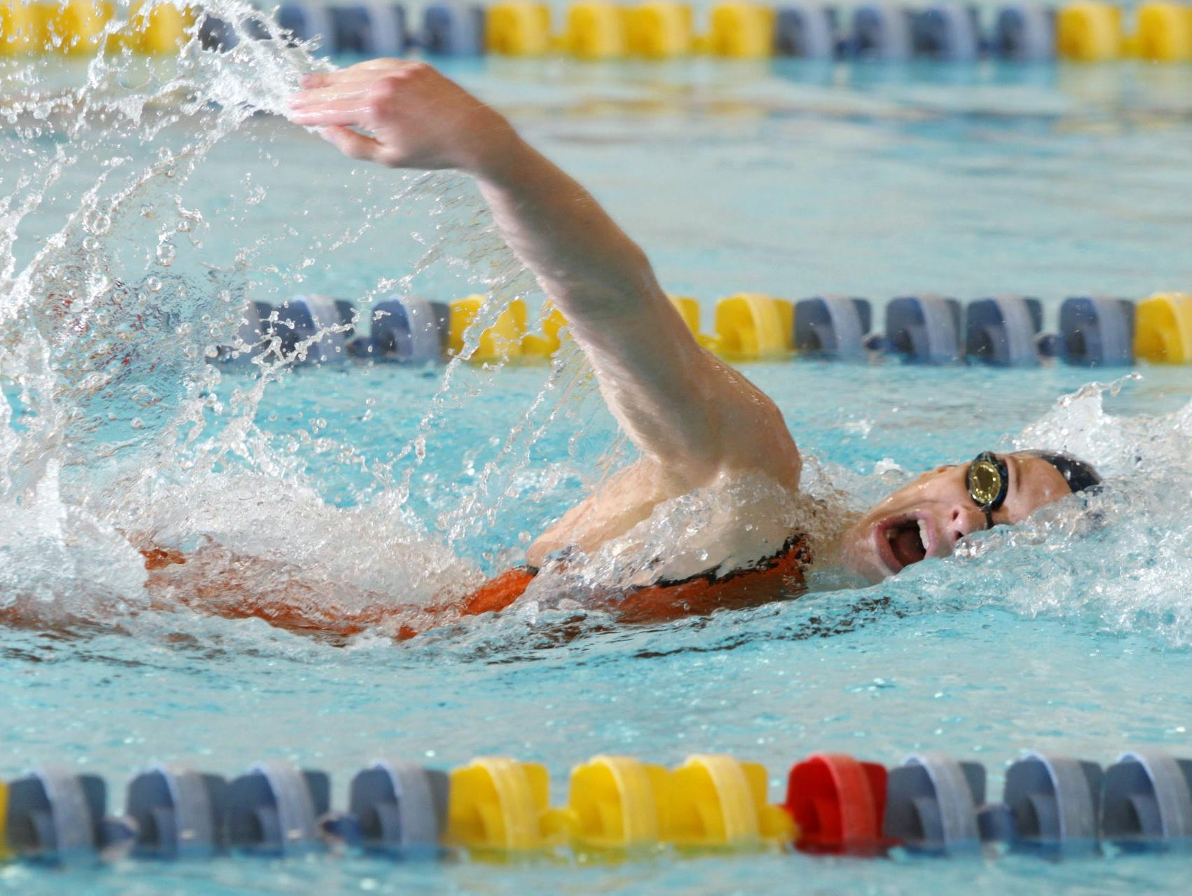 The Pingry School's Hollie Hopf swims the 100 freestyle against Oak Knoll in the Non-Public B championship on Feb, 22.