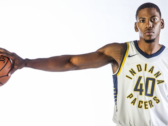 Indiana Pacers guard Glenn Robinson III (40) poses for a portrait during media day at St. Vincent Center on Sept. 25, 2017.