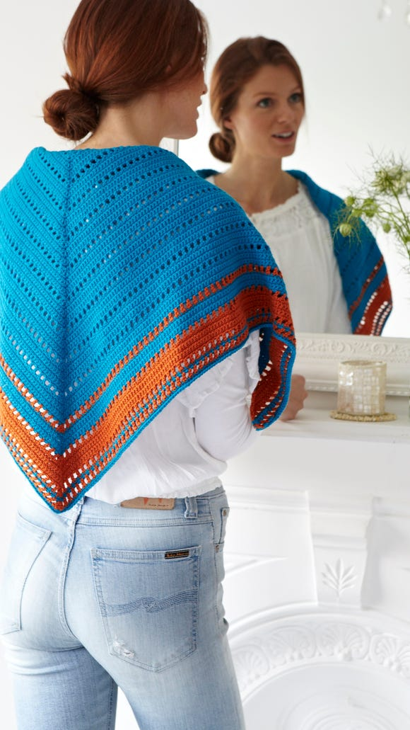 This shawl is shown in Navajo colors, but it could be adapted to any color scheme.