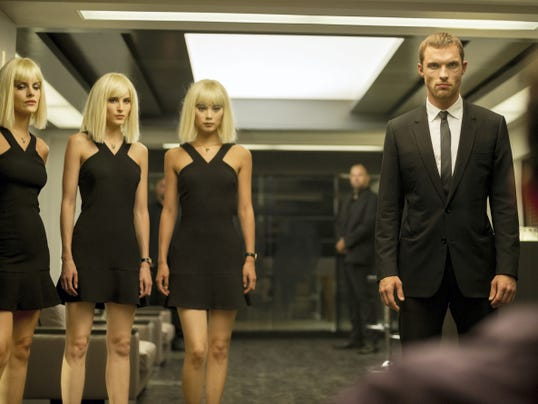 """From left, Tatiana Pajkovic, as Maria; Loan Chabonal, as Anna; Yu Wenxia, as Qiao; and Ed Skrein, as Frank Martin, star in """"The Transporter Refueled."""""""