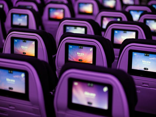 Swipe-able media reside in headrests in Air New Zealand's Boeing 787-9 Dreamliner as seen July 9, 2014, at the Boeing site in Everett, Wash.