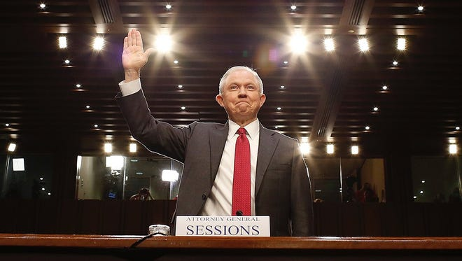 Attorney General Jeff Sessions is sworn in to testify before the Senate Intelligence Committee on the FBI's investigation into the Trump administration, and its possible collusion with Russia June 13, 2017 in Washington.