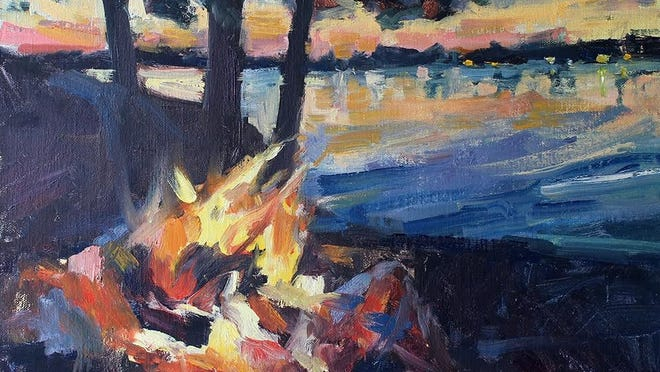 """The Cobblestone Gallery in Farmington presents """"Turning 60,"""" a collection of oil paintings depicting artist Cindy Harris' past year of experiences."""