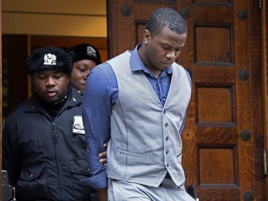 Shezoy Bleary, a suspect in the stabbing of Indiana Pacers forward Chris Copeland, his girlfriend and another woman early Wednesday, is led from the NYPD's 10th Precinct in New York Wednesday, April. 8, 2015.