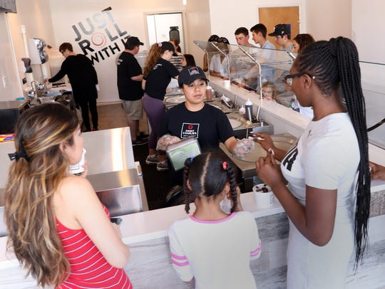 The crowd at Sweet Charlie's, a new ice cream shop that serves Thai rolled ice cream in Mamaroneck May 3, 2018.