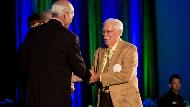 Jim Niccum, 90,  a  Edison & Ford Winter Estates guide won the Honor of Distintiction at the 14th Annual Elaine McLaughlin Outstanding Hospitality Service Awards at Hyatt Regency Coconut Point Resort & Spa, Bonita Springs onTuesday.
