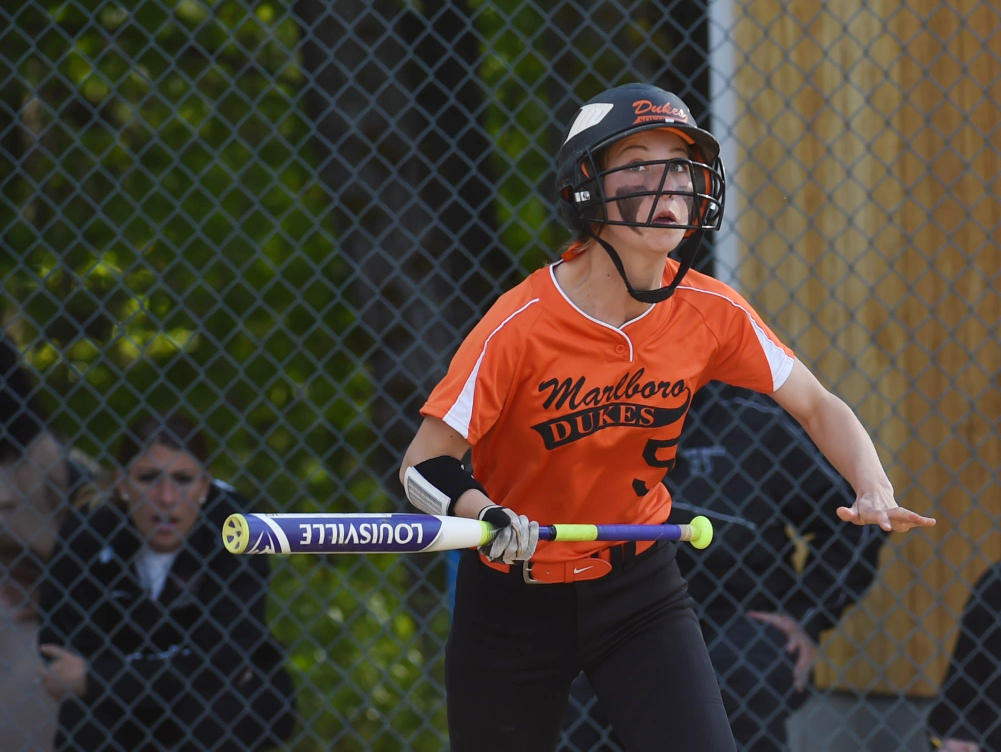 Marlboro's Michaela Casey hits a bunt foul during Monday's game against New Paltz.