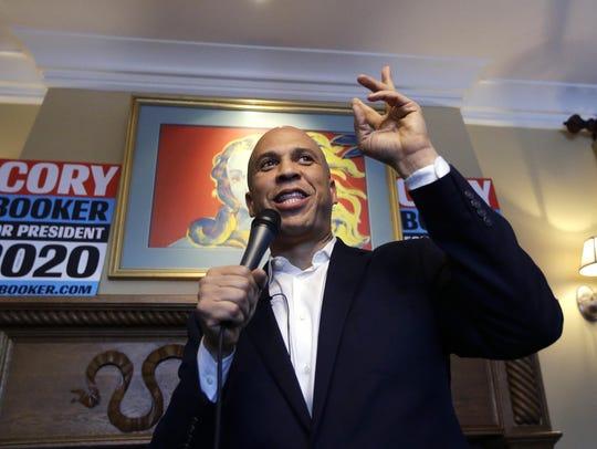 U.S. Sen. Cory Booker, D-N.J., speaks to voters during