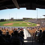 A general view of the crowd crowd during a 2015 spring training game between the Los Angeles Dodgers and the Oakland Athletics at Camelback Ranch.