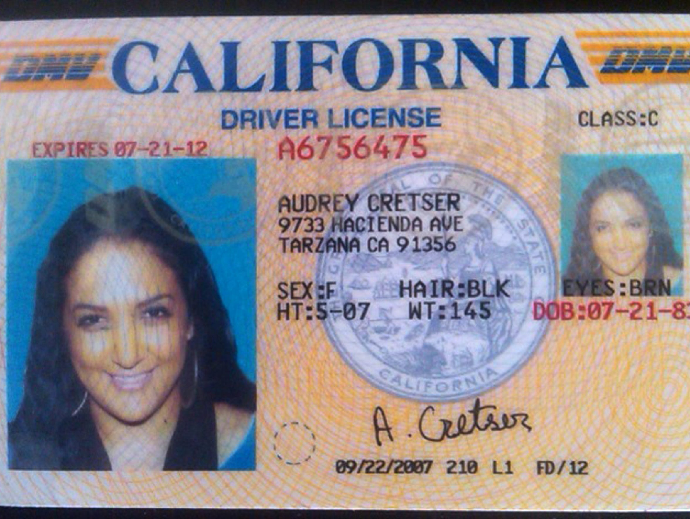 A driver's license for 'Audrey Cretser' was used to