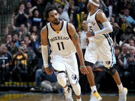 Memphis Grizzlies Mike Conley celebrates a three-point-basket