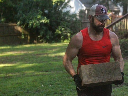 Tallahassee resident Patrick Slevin, 49, prepares for
