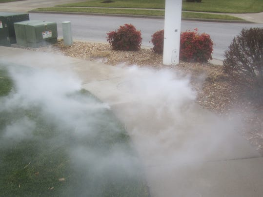 Severe leakage from a sewer service line located by Ozark smoke testing..jpg