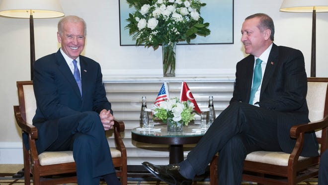 Vice President Biden and Turkish President Recep Tayyip Erdogan meet for a bilateral meeting at the Peninsula Hotel as the 69th session of the United Nations General Assembly convenes on Sept. 25,2014.