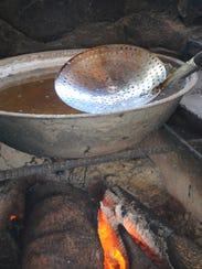 The temperature of the evaporating water determines