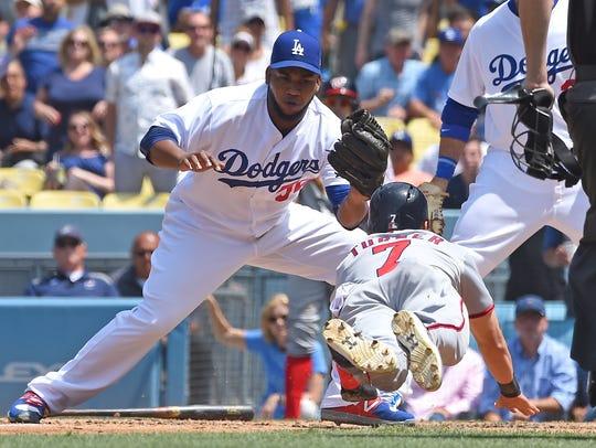 Los Angeles Dodgers relief pitcher Pedro Baez (52)