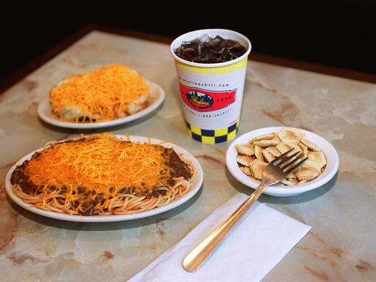 Skyline Chili setup, three way, coney, crackers and