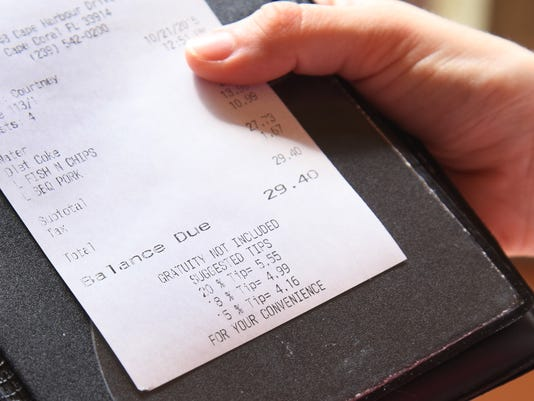 Receipt with tip chart