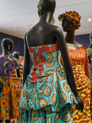 A dinner dress designed by Sera Perfections, 2014. The dress is made of   cotton, lurex, polyester; machine embroidery and lace from the  Democratic Republic of the Congo.   It was worn by Jill Biden at the White House for the US-Africa Leaders Summit in August 2014
