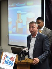 St. Cloud Mayor Dave Kleis speaks during a press conference announcing the launch of a campaign Thursday, Nov. 17, to educate citizens on proper prescription drug disposal.