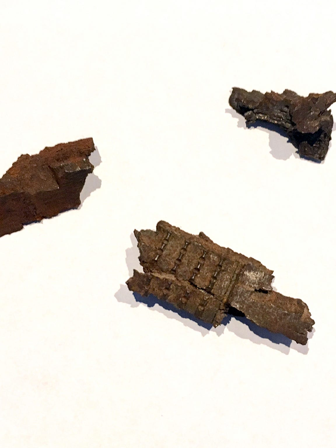 "Marian ""Nan"" Somes has kept these pieces of shrapnel from a 1944 bombing at Anzio, Italy."