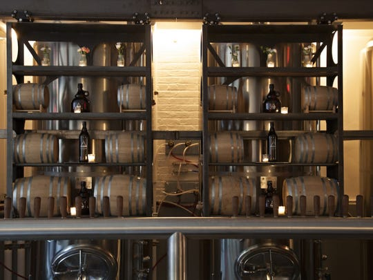The beers are brewed on-site at Threes in Brooklyn.