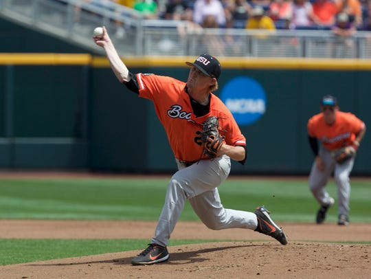 Jun 24, 2017; Omaha, NE, USA; Oregon State pitcher