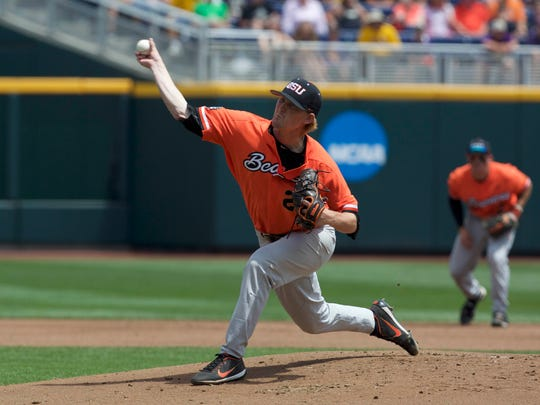 Jun 24, 2017; Omaha, NE, USA; Oregon State pitcher Bryce Fehmel (26) throws against LSU in the College World Series at TD Ameritrade Park Omaha. Mandatory Credit: Bruce Thorson-USA TODAY Sports