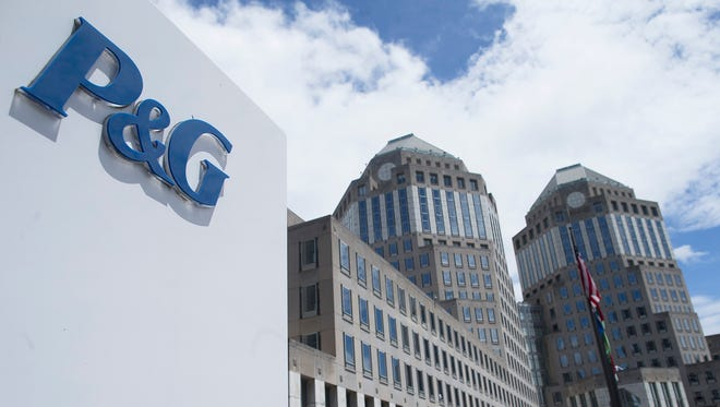 The Proctor & Gamble headquarters is seen in downtown Cincinnati. As share prices have fallen, some analysts say now may be the time to buy the consumer giant's stock.