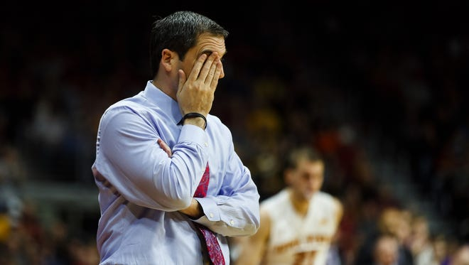 Iowa State's Steve Prohm reacts after a play during their Big Four Classic game at the Wells Fargo Arena on Saturday, December 19, 2015 in Des Moines.