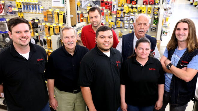 Left to right front row: Jerry Sanders, Richard Schmidt, David Martinez, Meagan Kase and Andrew McMahan (L to R) back row Aaron Davis and Maynard Word, are employees at Haynes Hardware in the Murfreesboro store, on Monday, March 28, 2016. The store which began on the square in Murfreesboro will be celebrating it's 95 anniversary this April.