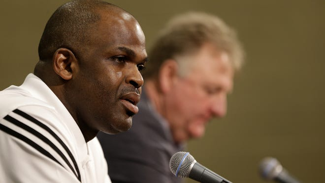 New Indiana Pacers coach Nate McMillan and team president Larry Bird addressed the media on May 16, 2016.